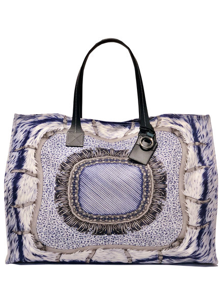TOTE BAG: FEATHERS: BLUE