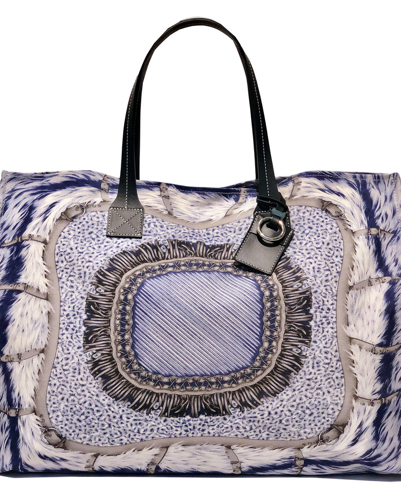 PRINTED CANVAS BEACH BAG: FEATHERS: BLUE