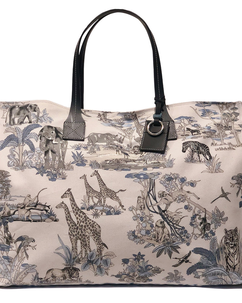 PRINTED CANVAS BEACH BAG: SAFARI: BLUE