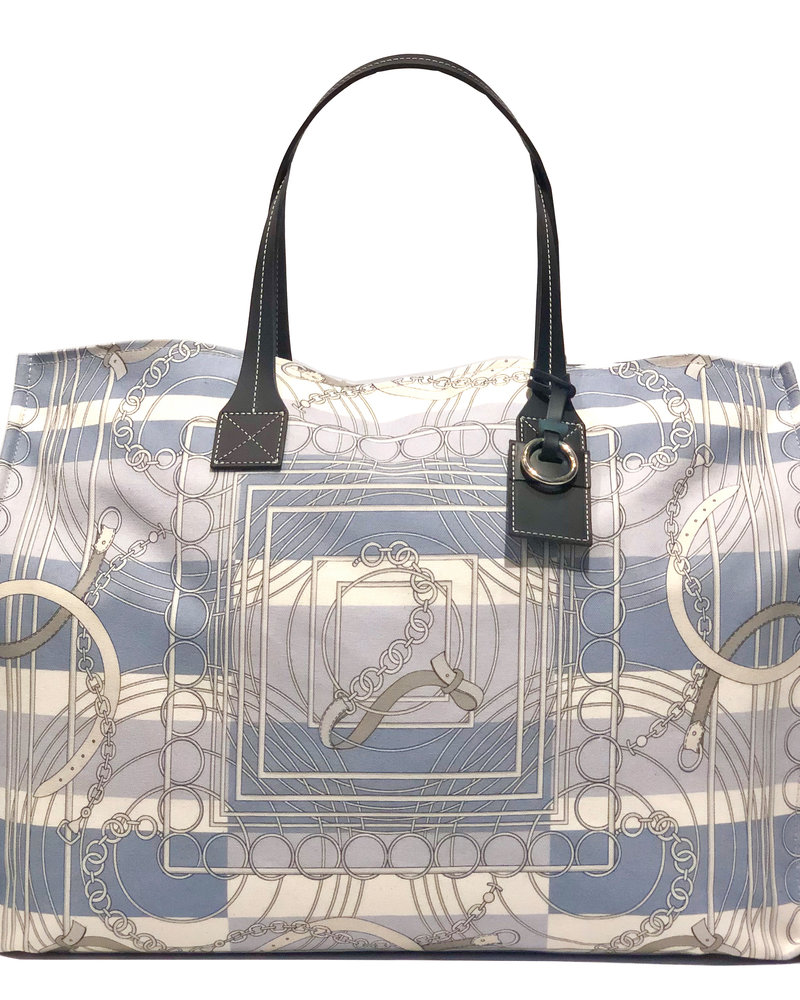 PRINTED CANVAS BEACH BAG: VENEZIA: BLUE
