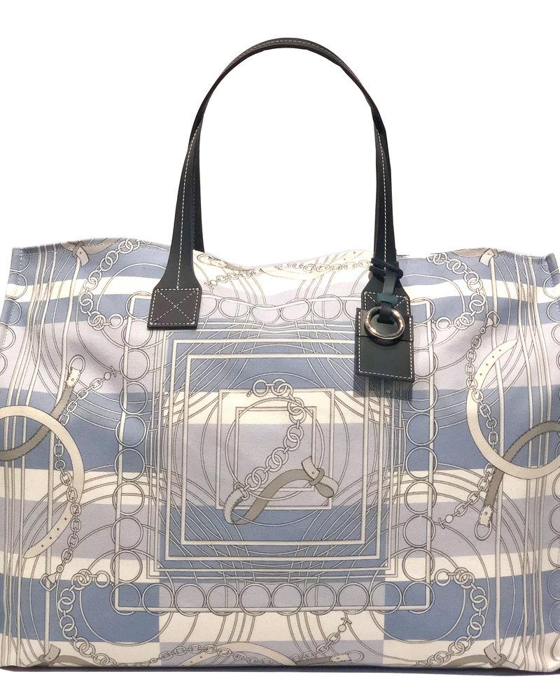 PRINTED CANVAS BEACH BAG:VENEZIA:BLUE