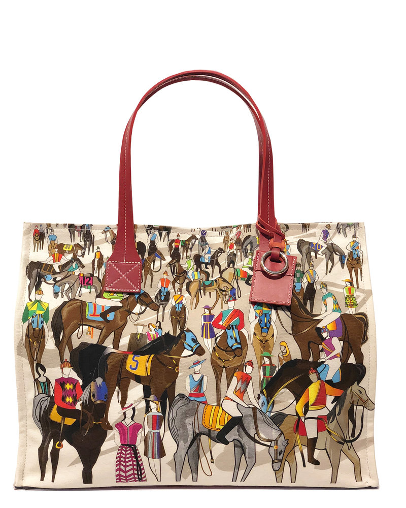 PRINTED CANVAS BEACH SMALL BAG: AFTER THE RACE: MULTI