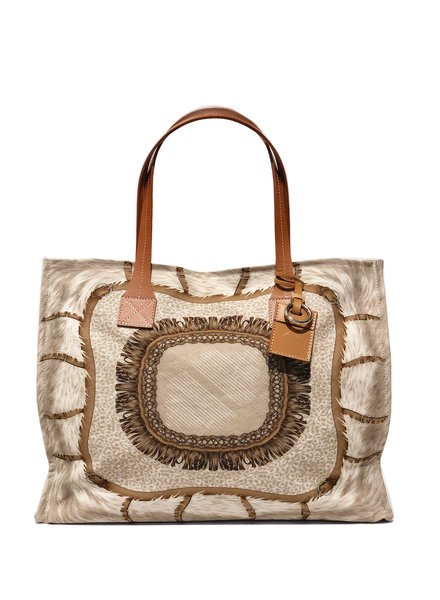 TOTE BAG SMALL: FEATHERS: TAUPE