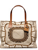 PRINTED CANVAS BEACH SMALL BAG:FEATHERS: TAUPE