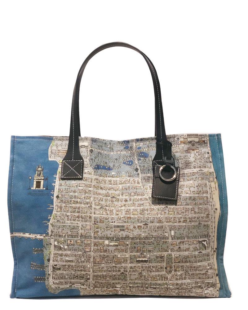 PRINTED CANVAS BEACH SMALL BAG:  PALM BEACH: BALTIC BLUE