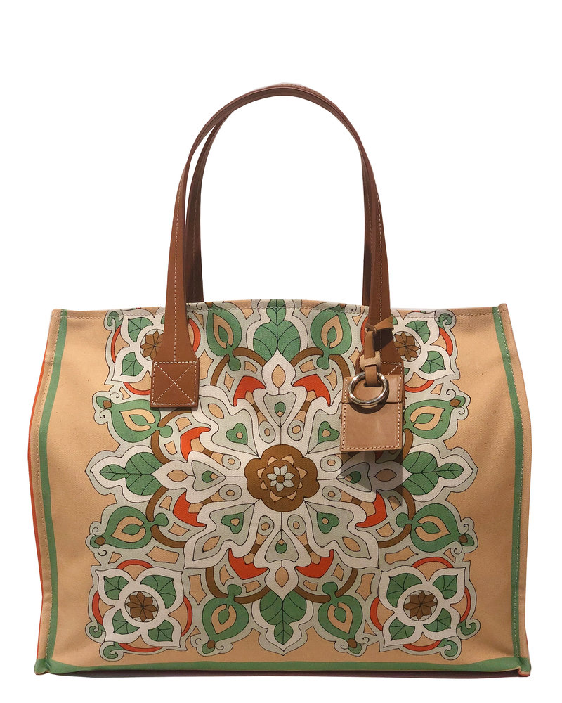 PRINTED CANVAS BEACH SMALL BAG:  SAVOIA: MELON