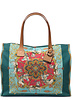 PRINTED CANVAS BEACH SMALL BAG:  TOYHORSES: TURQUOISE