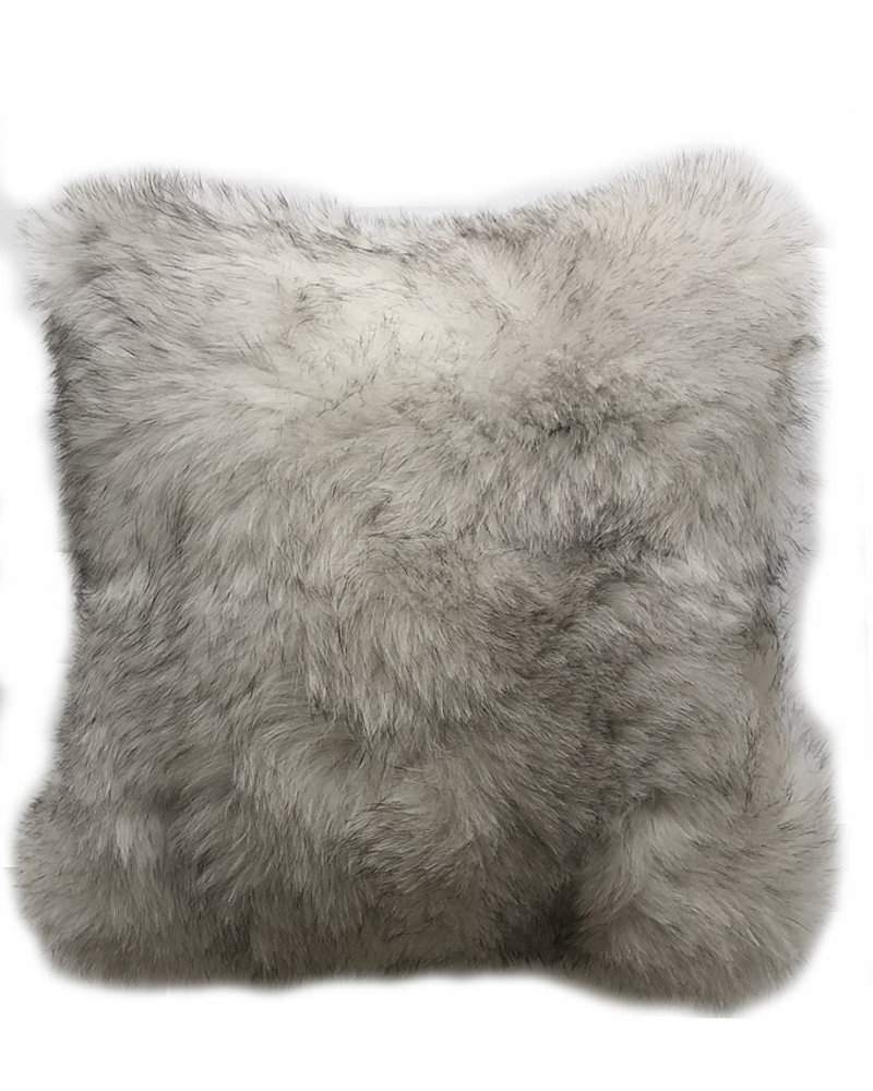 "CASHMERE PILLOW WITH FUR: 17"" X 17"": PEARL"