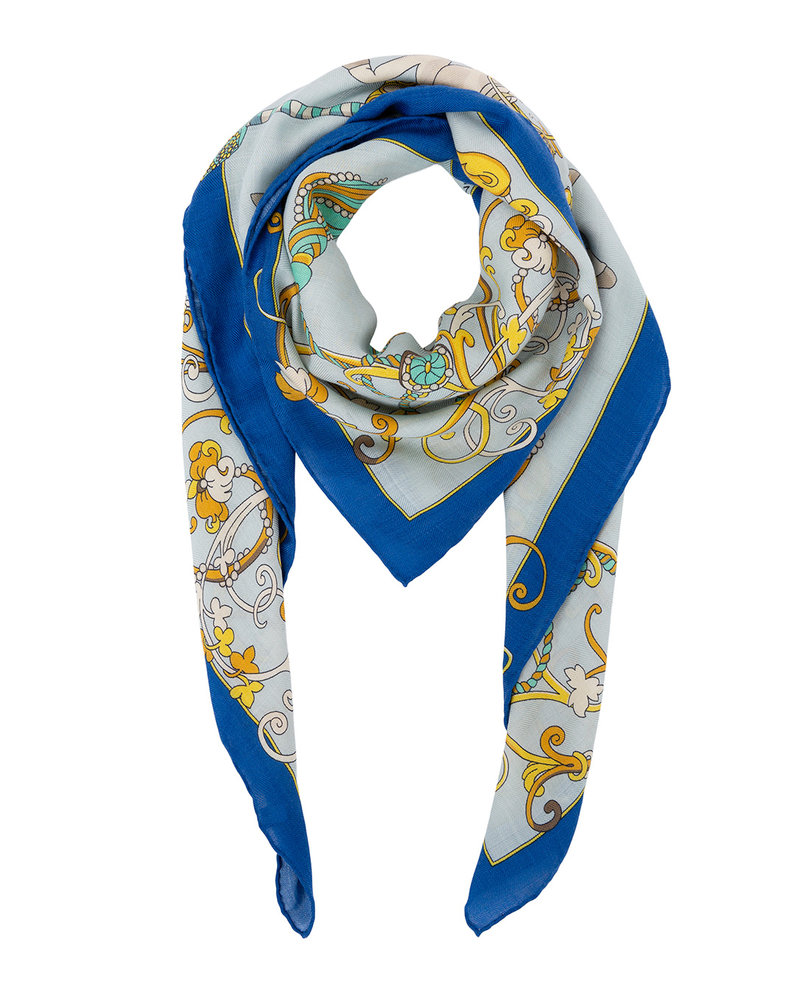 PRINTED CASHMERE SCARF: TOY HORSES: BLUE