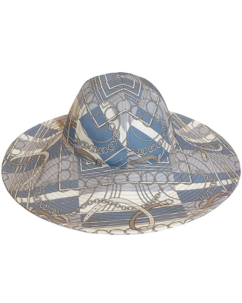 PRINTED BIG HAT:  VENEZIA: BLUE