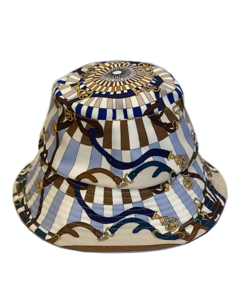 PRINTED BUCKET HAT:  FIRENZE: BLUE