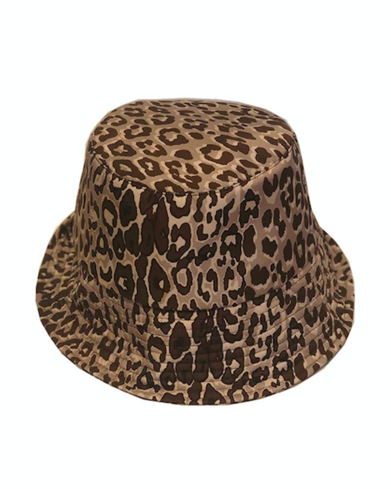 PRINTED BUCKET HAT:  LEO: BEIGE