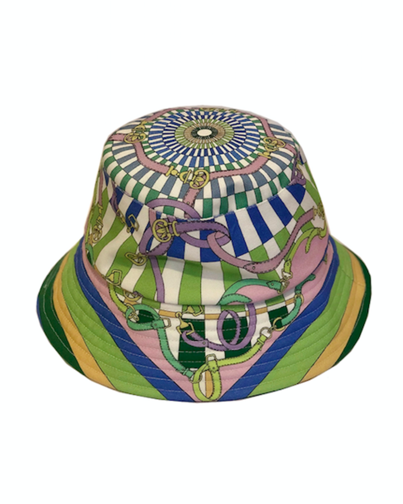 PRINTED BUCKET HAT:  FIRENZE: LIME