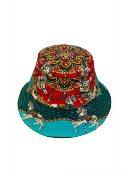 BUCKET HAT:  TOY HORSES: TURQUOISE