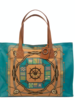 PRINTED CANVAS BEACH SMALL BAG: STEERING WHEEL:  APRICOT