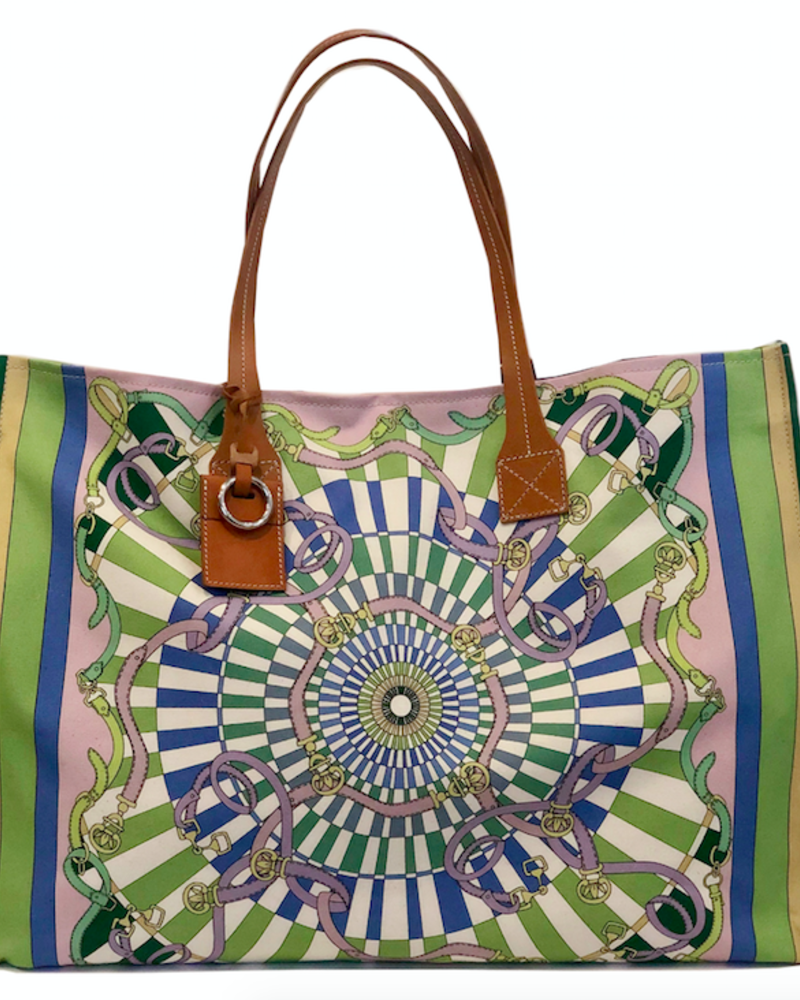 PRINTED CANVAS BEACH BAG:  FIRENZE: LIME