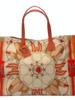 PRINTED CANVAS BEACH BAG:  STIRRUPS: ORANGE