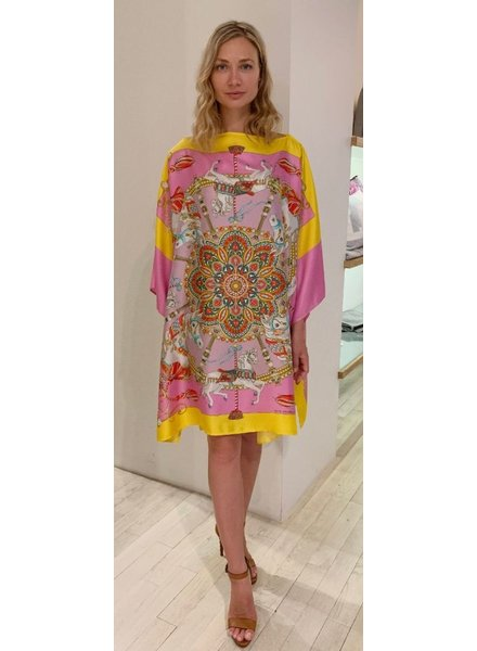 PRINTED SILK KAFTAN: TOY HORSES