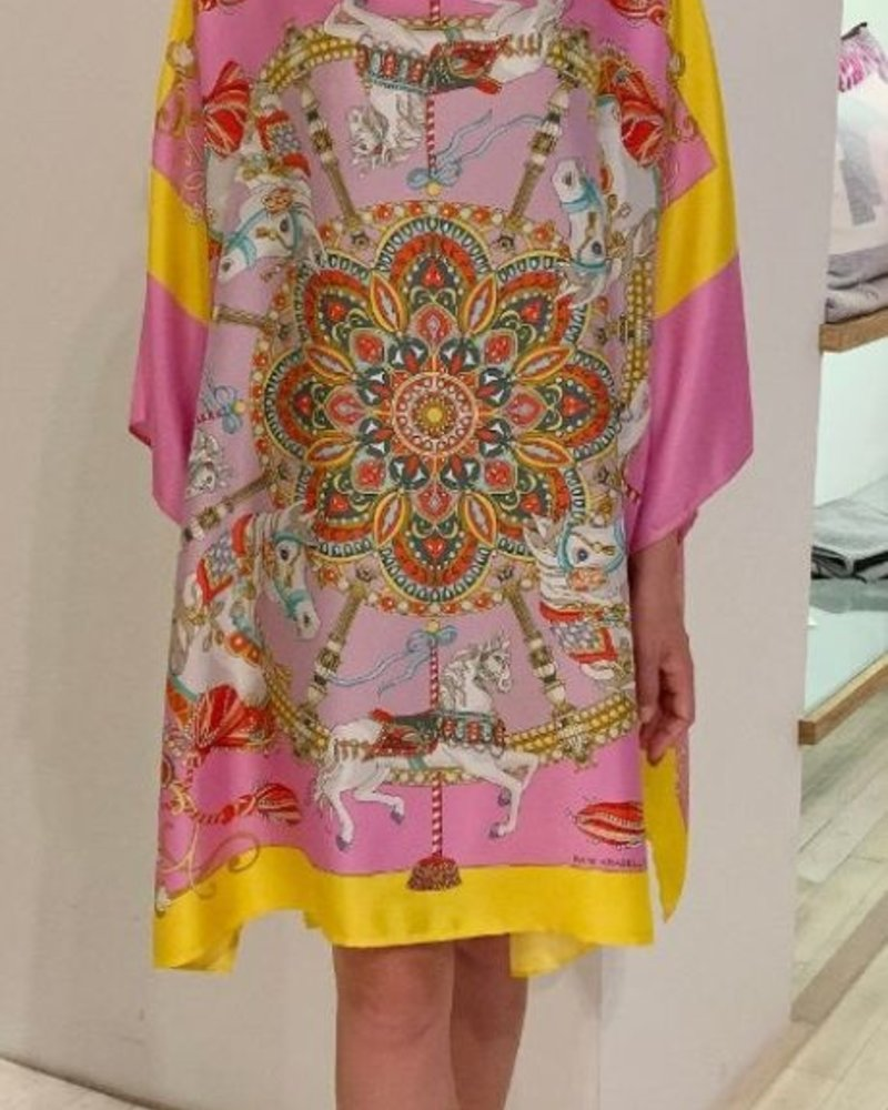 PRINTED SILK KAFTAN: TOY HORSES: CANDY
