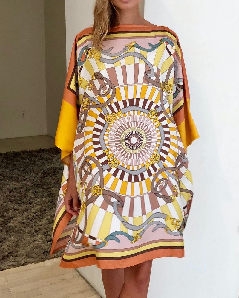 PRINTED SILK KAFTAN: FIRENZE: MELON