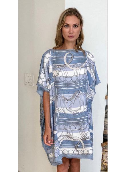 DOUBLE SILK DRESS: LIGHT BLUE
