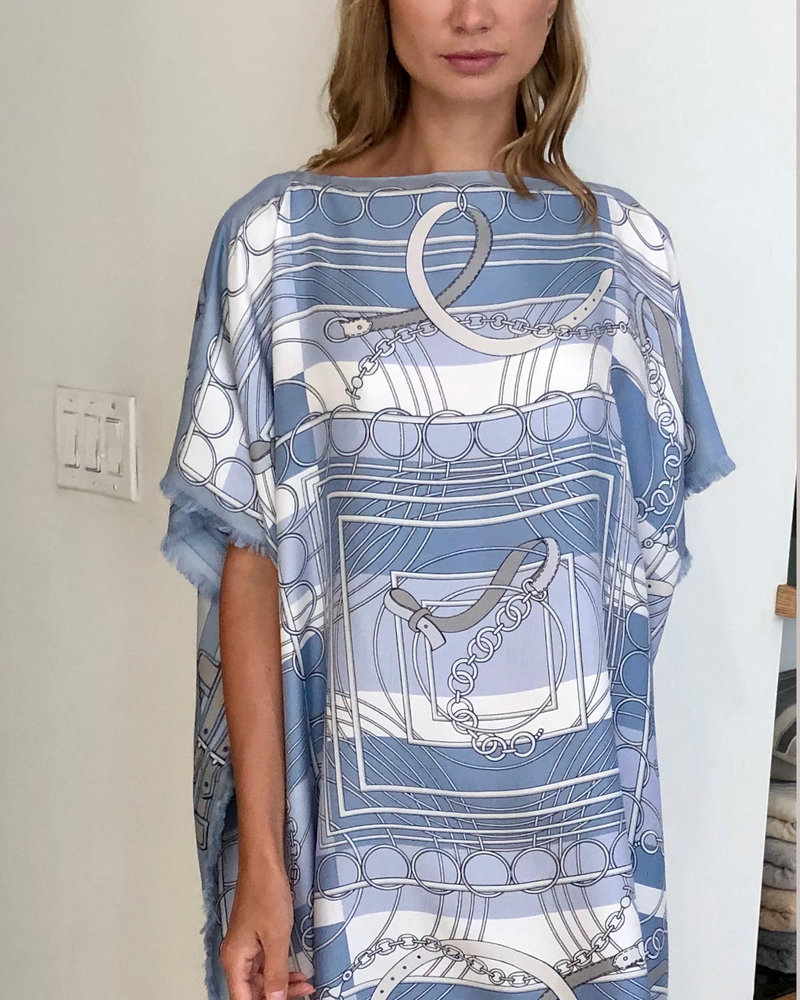 DOUBLE SILK DRESS:  STIRRUPS-VENEZIA: LIGHT BLUE