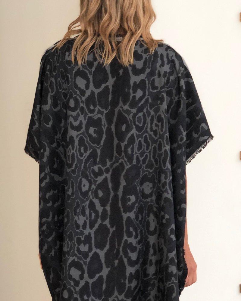 DOUBLE SILK DRESS: LEOPOARD-SAFARI: BLACK
