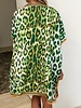 DOUBLE SILK DRESS: LEOPOARD-SAFARI: MINT