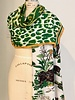 DOUBLE SILK SCARF:  LEOPARD-SAFARI: MINT