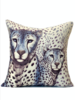 "SUPERFINE WOOL PRINTED PILLOW: 22""X22"": LEOPARD BLUE"