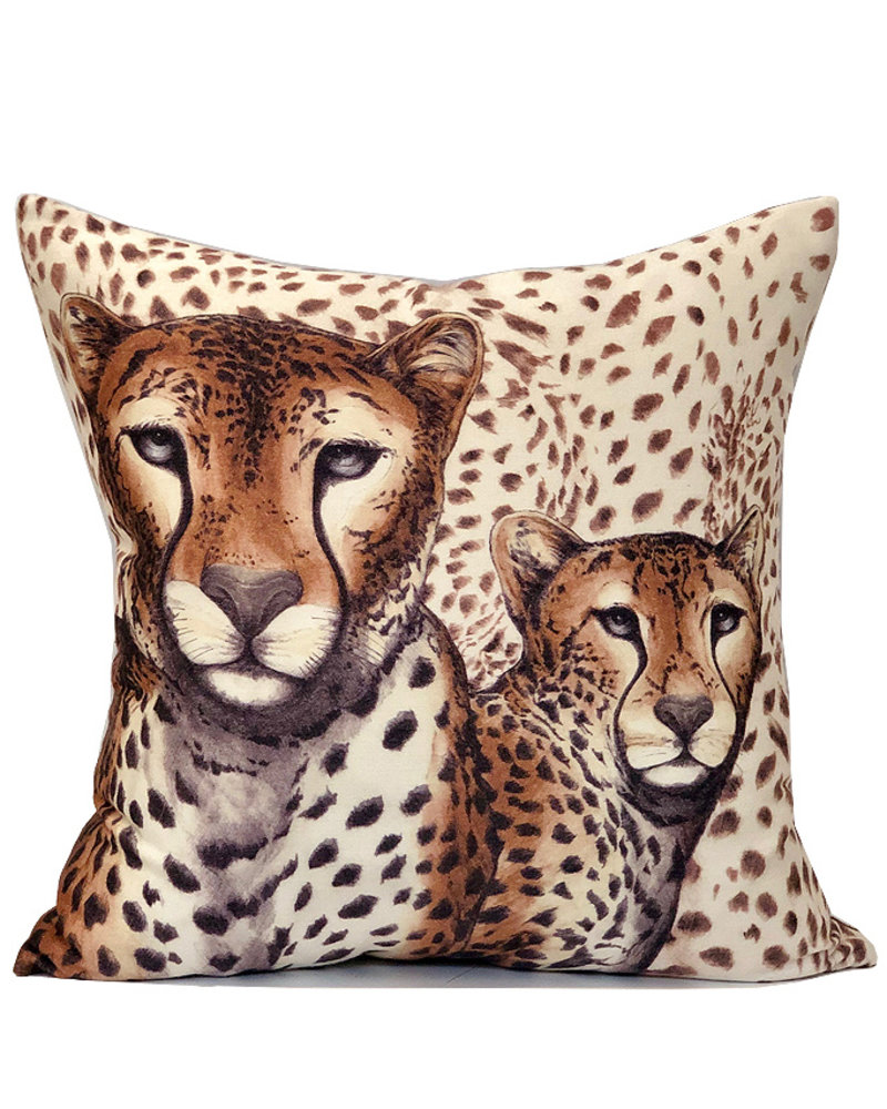 "SUPERFINE WOOL PRINTED PILLOW: 22""X22"": LEOPARD BROWN"