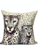"""SUPERFINE WOOL PRINTED PILLOW: 24""""X24"""": LEOPARD GRAY"""
