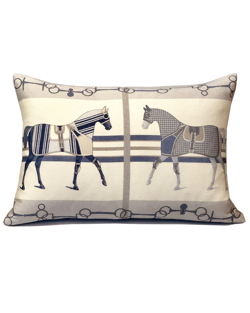 "SUPERFINE WOOL PRINTED PILLOW: 16""X24"": POLO BLUE"