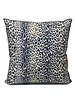 "SILK PRINTED PILLOW W/ LEATHER TRIM: 21""X21"": LEOPARD BLUE"