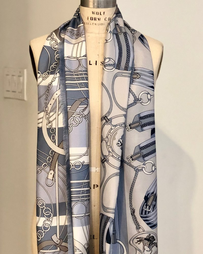 DOUBLE SILK SCARF:  VENEZIA-STIRRUPS:  LIGHT BLUE