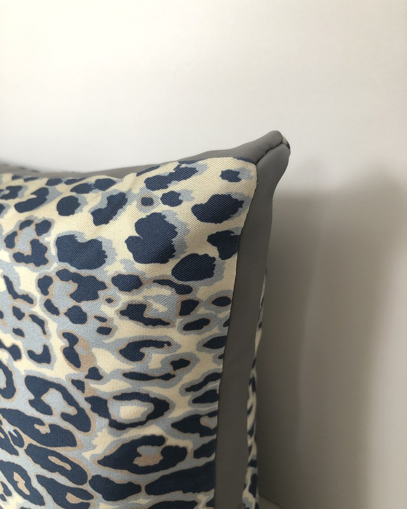 "SILK PRINTED PILLOW W/ LEATHER TRIM: 12""X18"": LEOPARD BLUE"