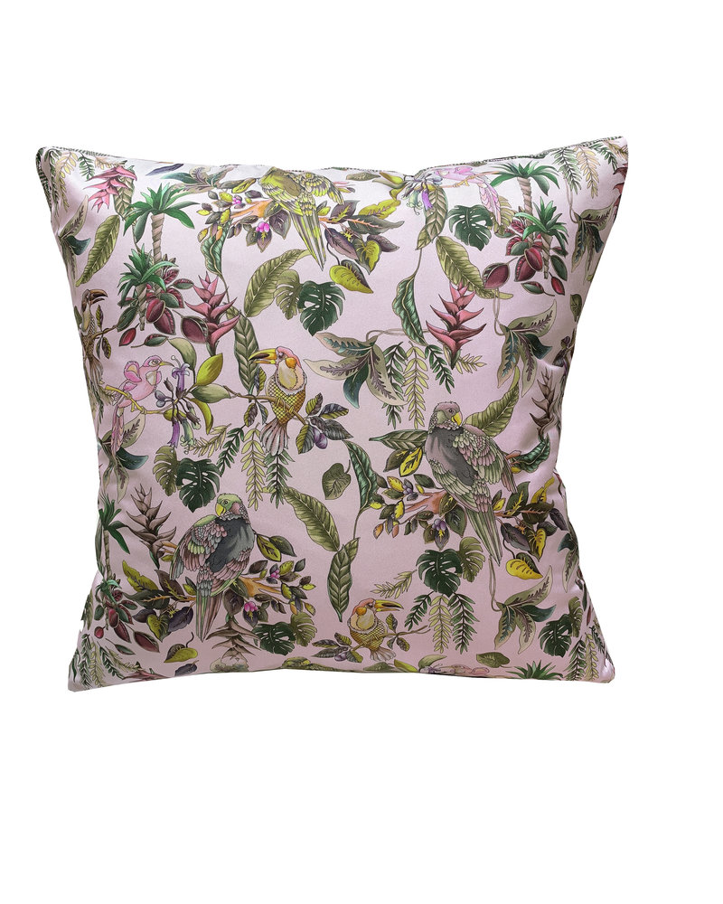 "SILK PRINTED PILLOW WITH TRIM: 21""X21"": BIRD AND FLORAL: PINK"