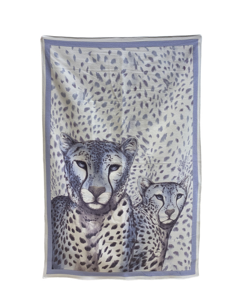 SUPERFINE WOOL PRINTED THROW: LEOPARD: BLUE
