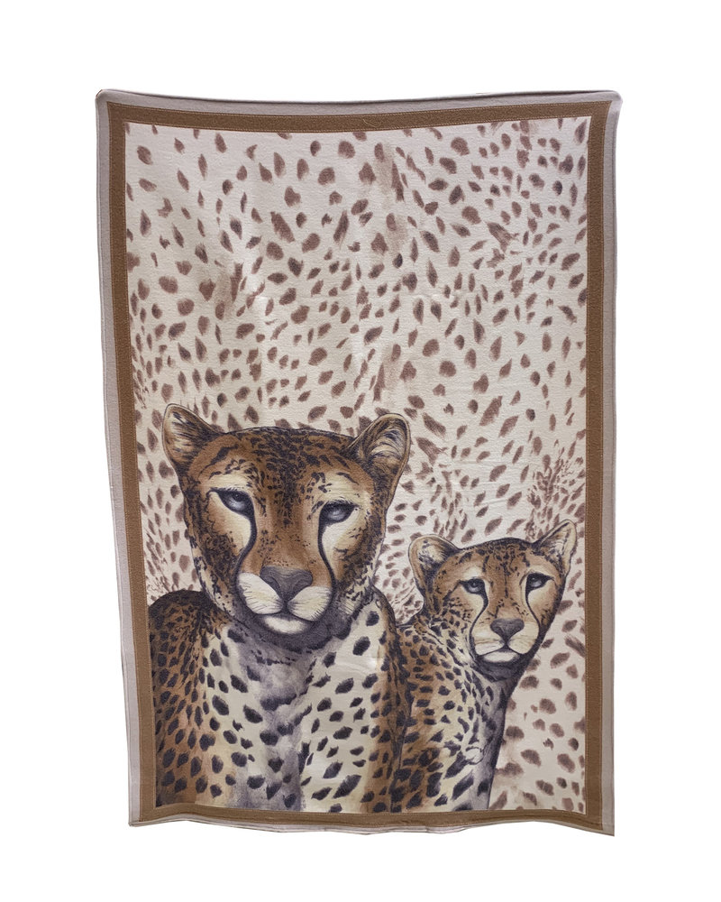 SUPERFINE WOOL PRINTED THROW: LEOPARD: BROWN