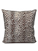 "SILK PRINTED PILLOW W/ LEATHER TRIM: 21""X21"": LEOPARD BROWN"