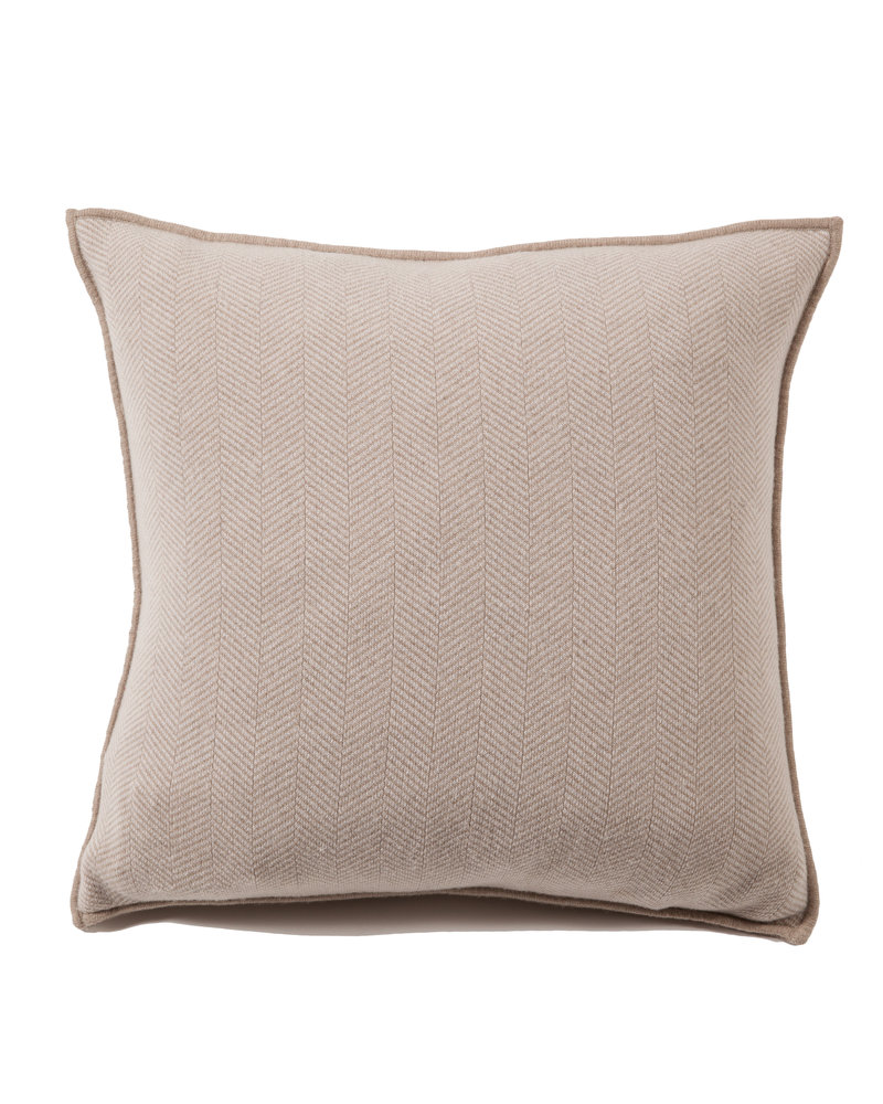 "HENRY CASHMERE BLEND HERRINGBONE PILLOW: 21"" X 21'': TAUPE-IVORY"
