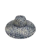 WIDE BRIM HAT: LEOPARD: BLUE