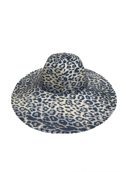 WIDE BRIM HAT: LEOPARD: BLUE