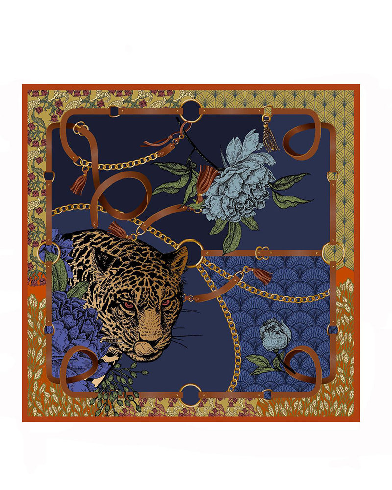 PRINTED CASHMERE SHAWL:LEOPARD:NAVY