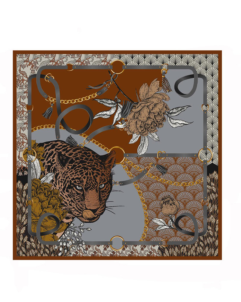 PRINTED CASHMERE SHAWL: LEOPARD: BROWN