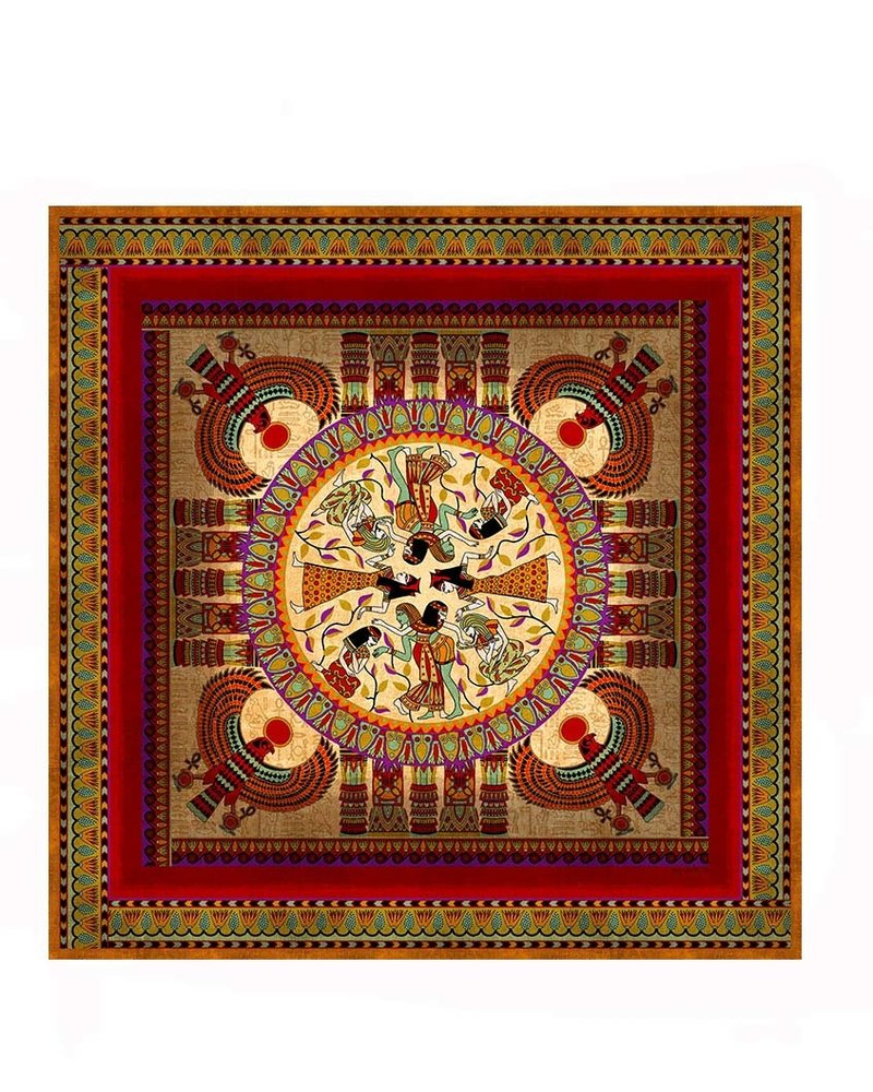 PRINTED SILK SCARF: EGYPTIAN: RED