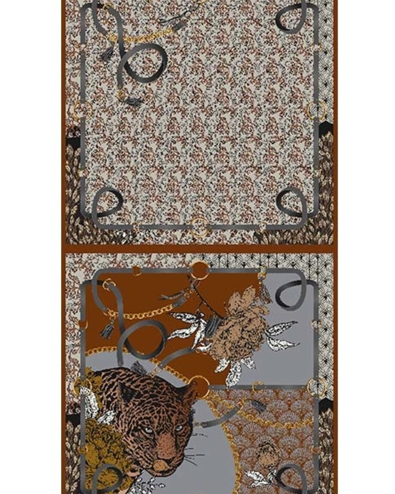 DOUBLE SILK SCARF: LEOPARD: BROWN
