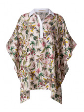 PRINTED SILK TOP WITH COTTON COLLAR