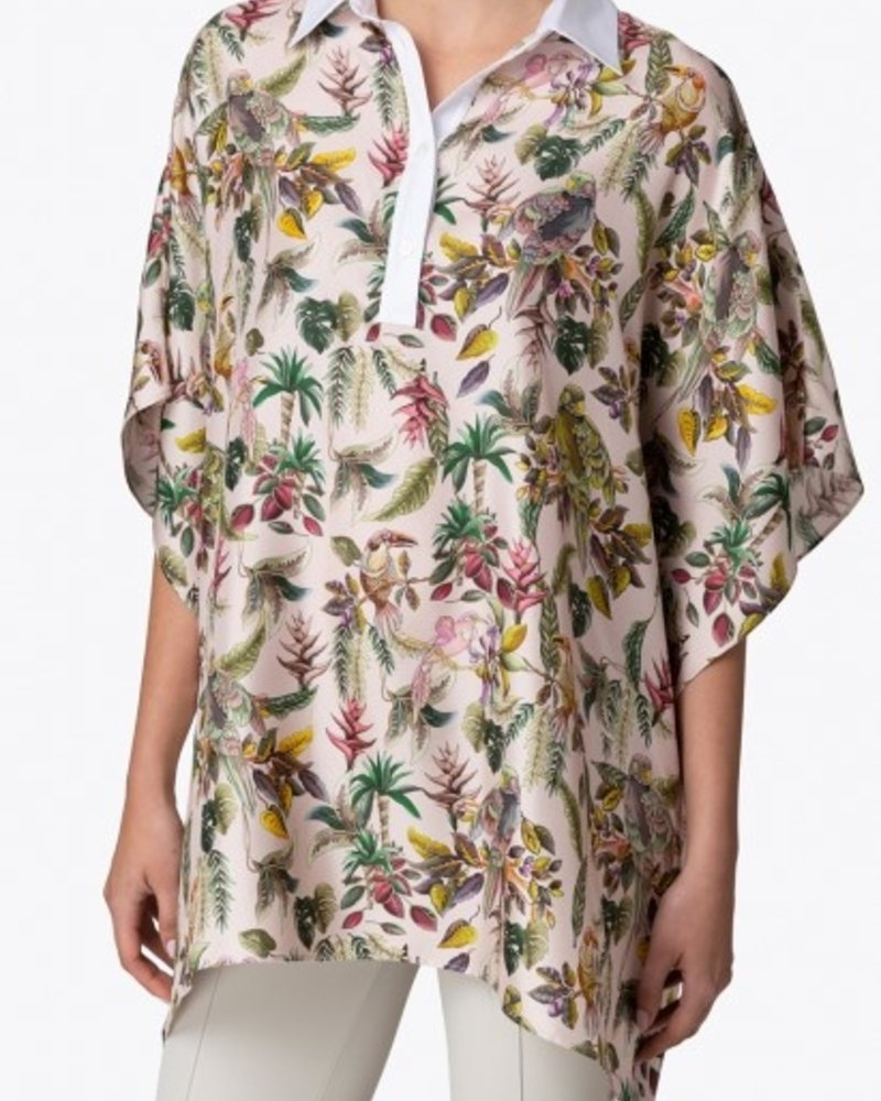 PRINTED SILK TOP W/ COTTON COLLAR: BIRD-PINK