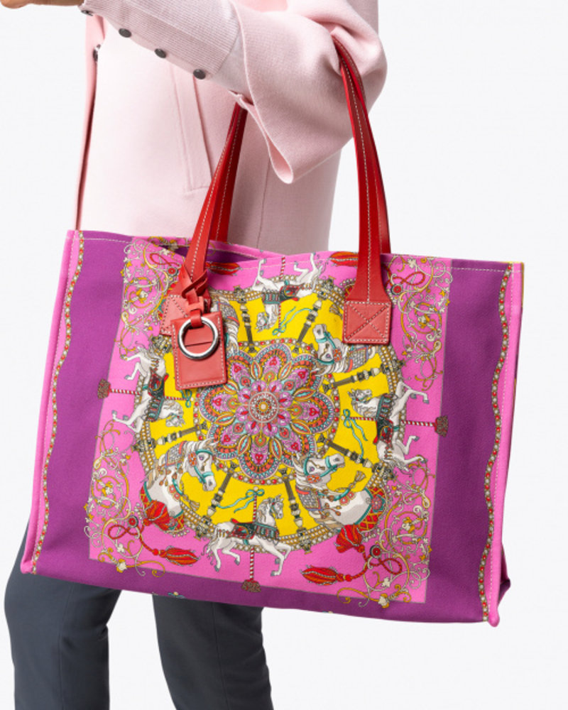 PRINTED SMALL BAG: TOY HORSES: PINK